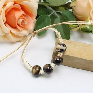 Jewelry - Genuine Tigers Eye Ceramic Beaded Rope Bracelet
